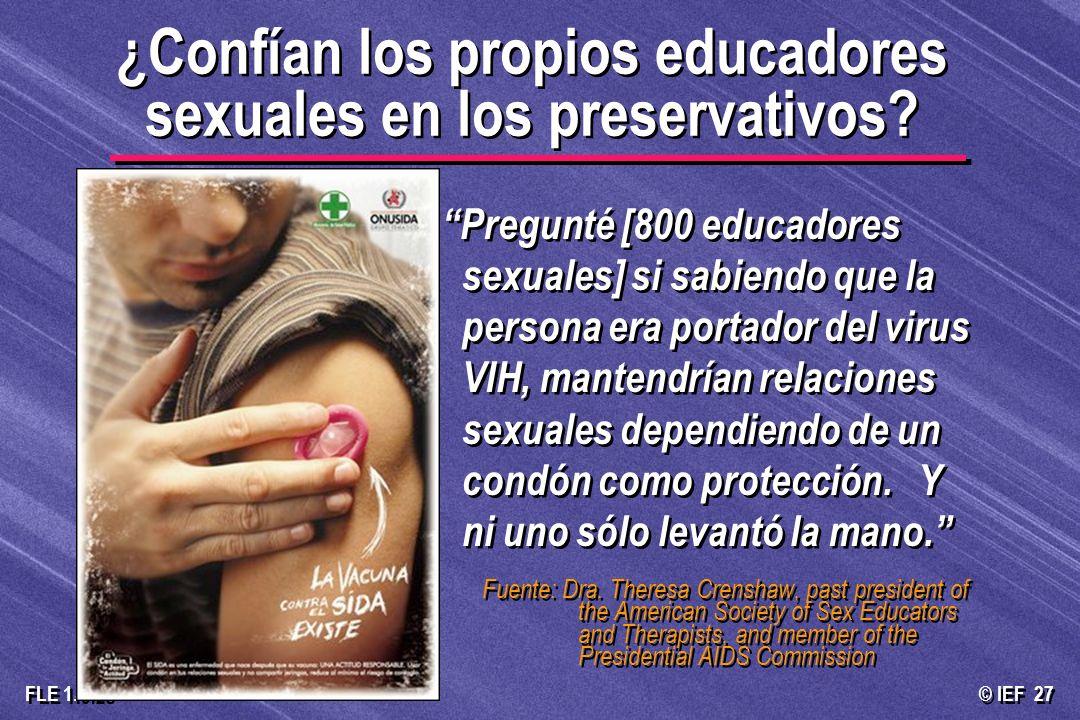 ¿Confían los propios educadores sexuales en los preservativos