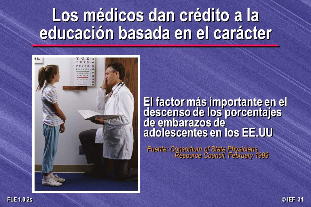 Los médicos dan crédito a la educación basada en el carácter