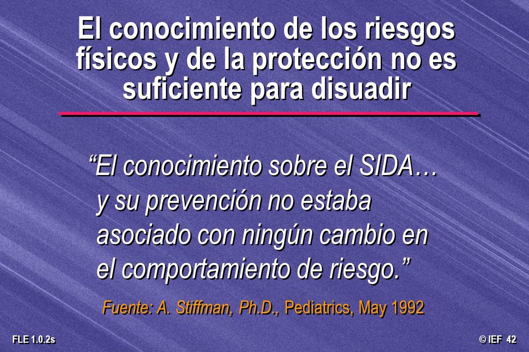 El conocimiento de los riesgos físicos y de la protección no es suficiente para disuadir
