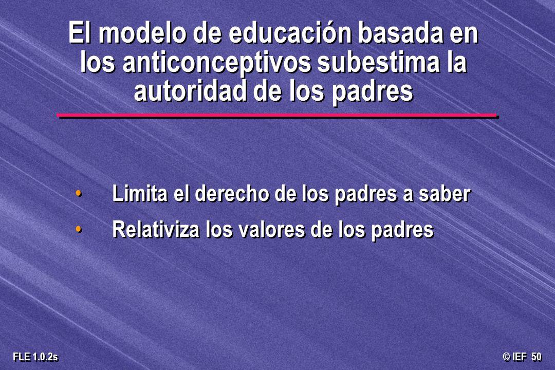 El modelo de educación basada en los anticonceptivos subestima la autoridad de los padres