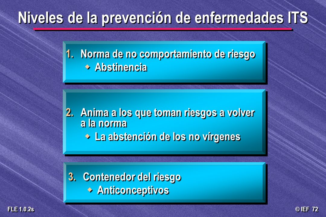 Niveles de la prevención de enfermedades ITS