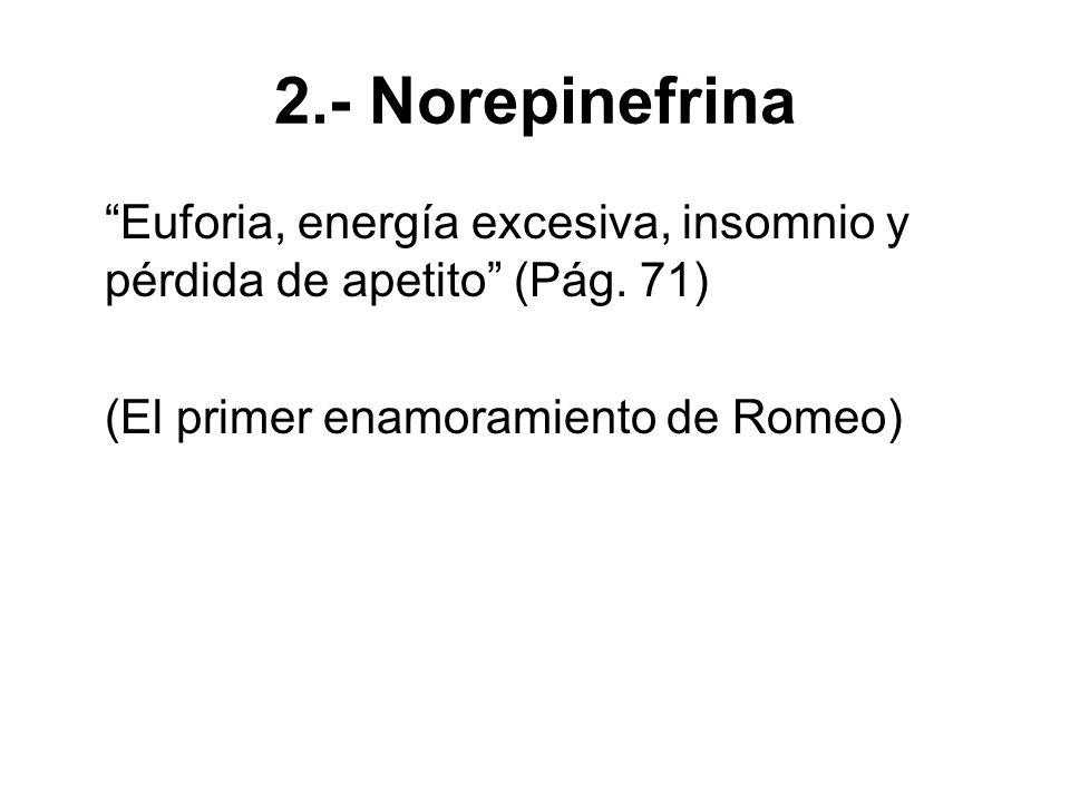 2.- Norepinefrina Euforia, energía excesiva, insomnio y pérdida de apetito (Pág.