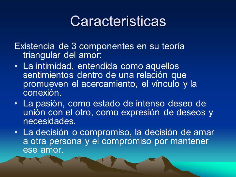 Caracteristicas Existencia de 3 componentes en su teoría triangular del amor: