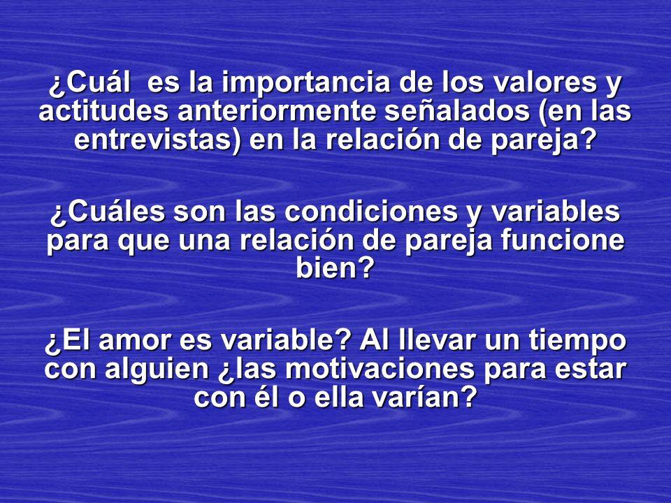 ¿Cuál es la importancia de los valores y actitudes anteriormente señalados (en las entrevistas) en la relación de pareja
