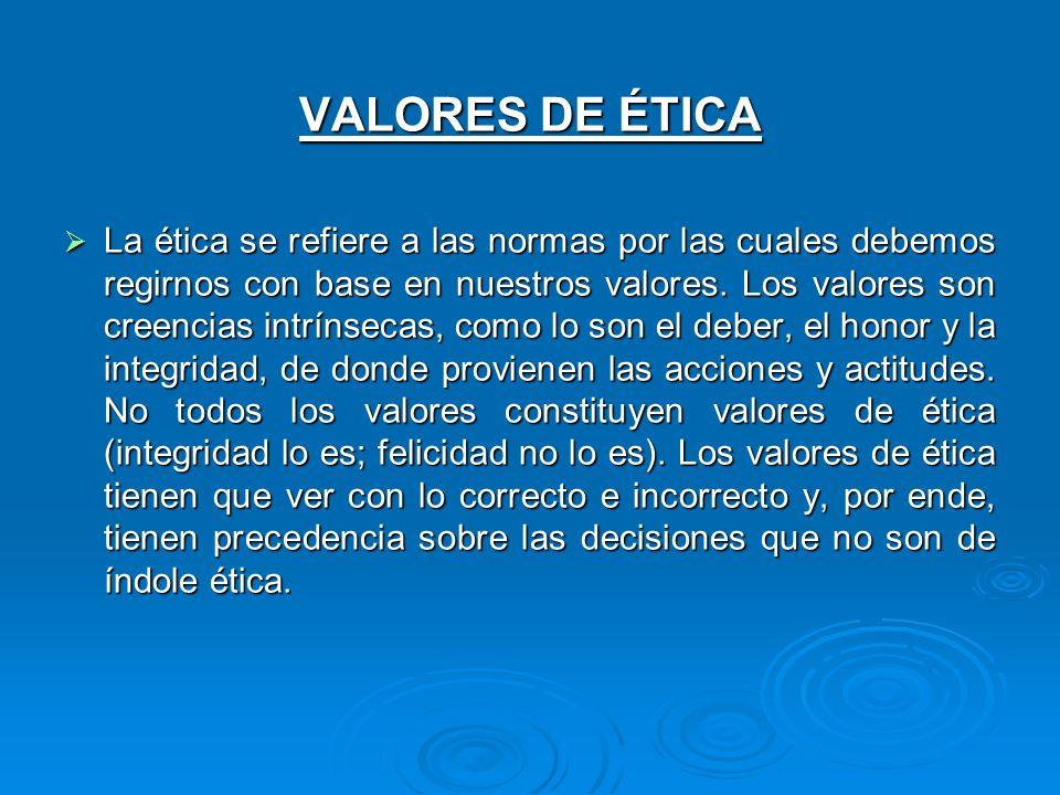 VALORES DE ÉTICA