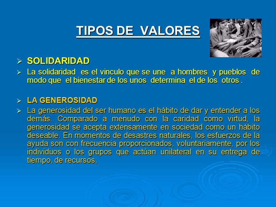 TIPOS DE VALORES SOLIDARIDAD