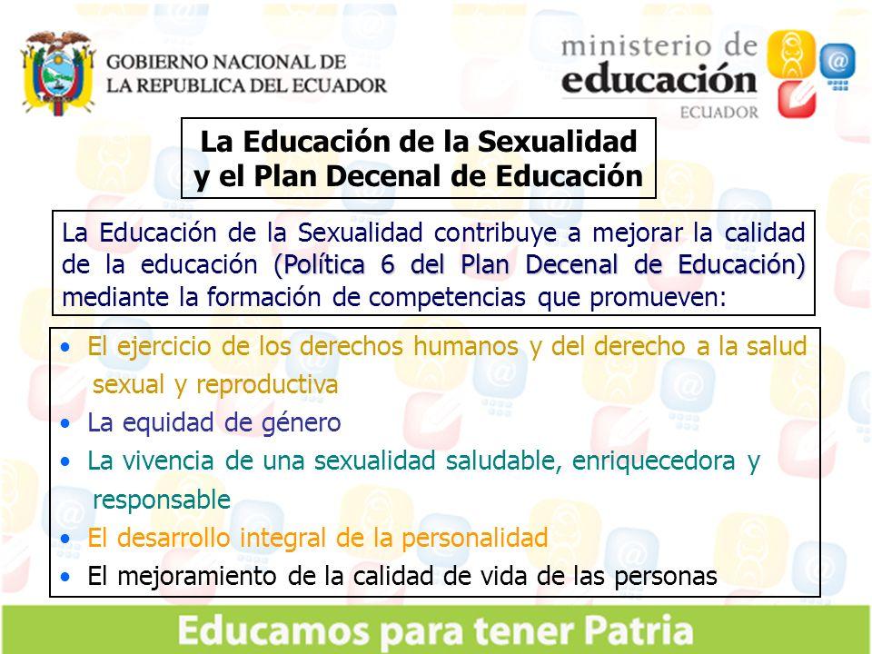 La Educación de la Sexualidad y el Plan Decenal de Educación