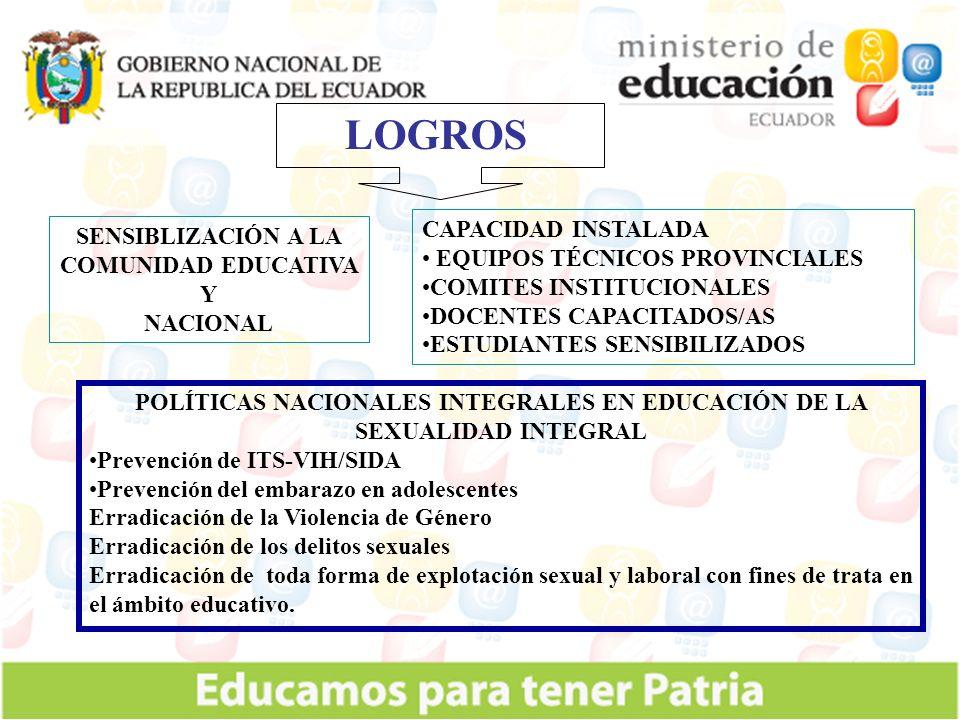 LOGROS CAPACIDAD INSTALADA SENSIBLIZACIÓN A LA COMUNIDAD EDUCATIVA Y