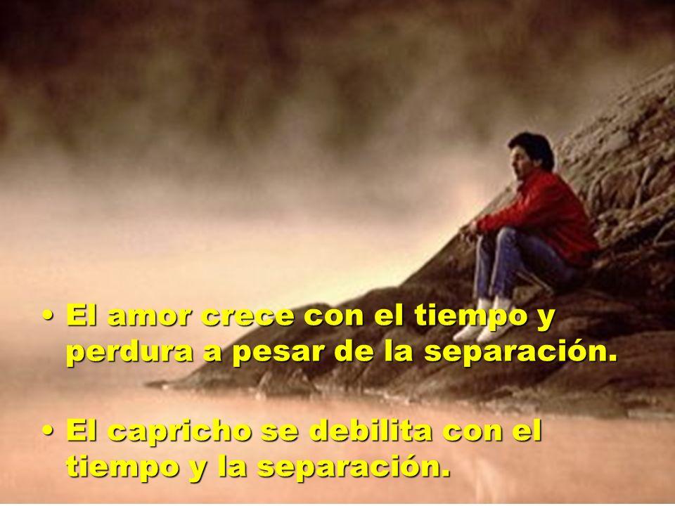 El amor crece con el tiempo y perdura a pesar de la separación.