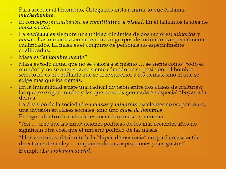 - Para acceder al fenómeno, Ortega nos insta a mirar lo que él llama, muchedumbre.