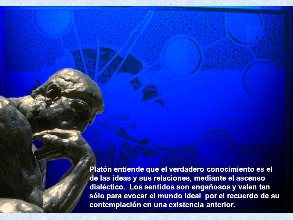 Platón entiende que el verdadero conocimiento es el de las ideas y sus relaciones, mediante el ascenso dialéctico.