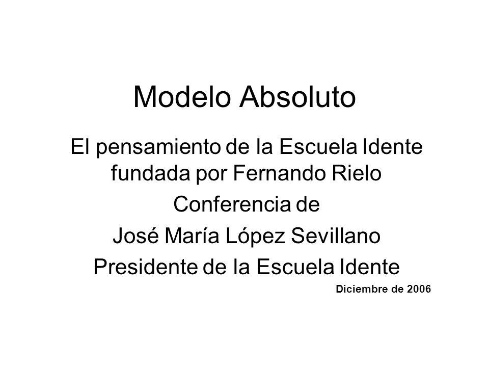 Modelo Absoluto El pensamiento de la Escuela Idente fundada por Fernando Rielo. Conferencia de. José María López Sevillano.