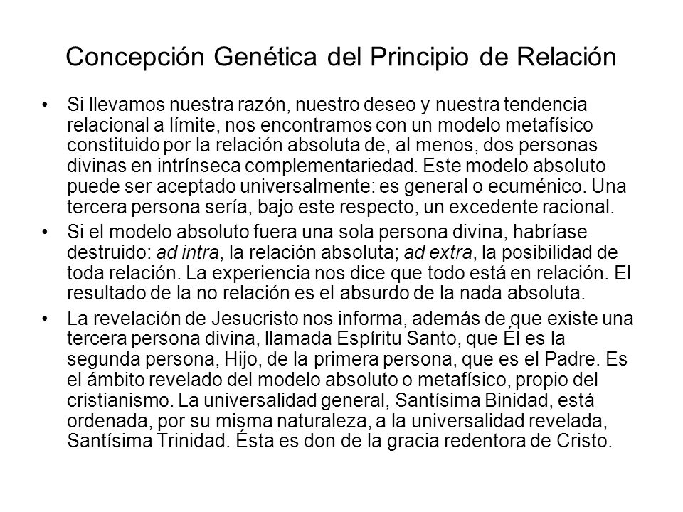 Concepción Genética del Principio de Relación