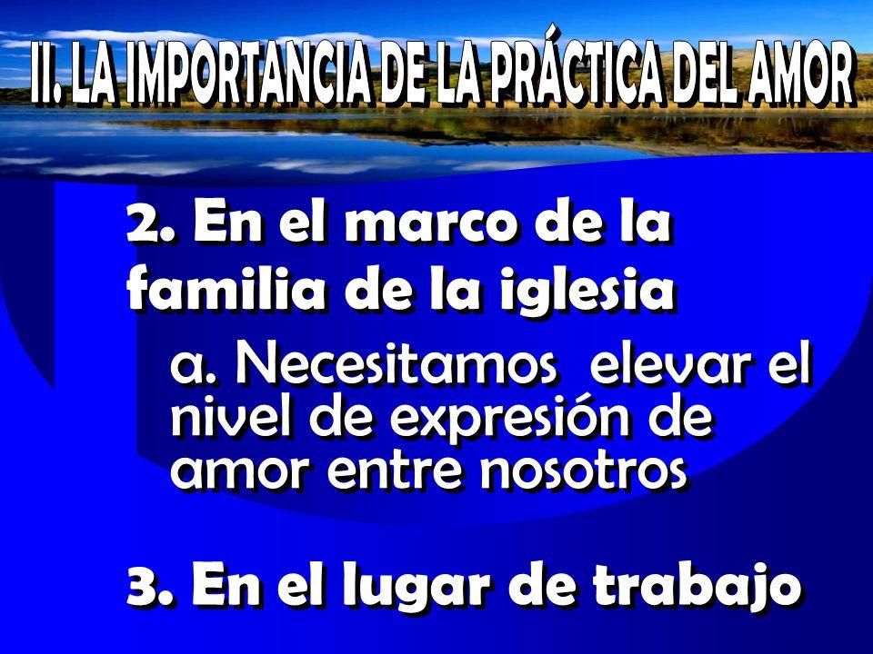 II. LA IMPORTANCIA DE LA PRÁCTICA DEL AMOR