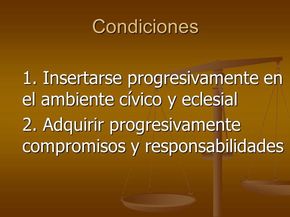 Condiciones 1. Insertarse progresivamente en el ambiente cívico y eclesial.