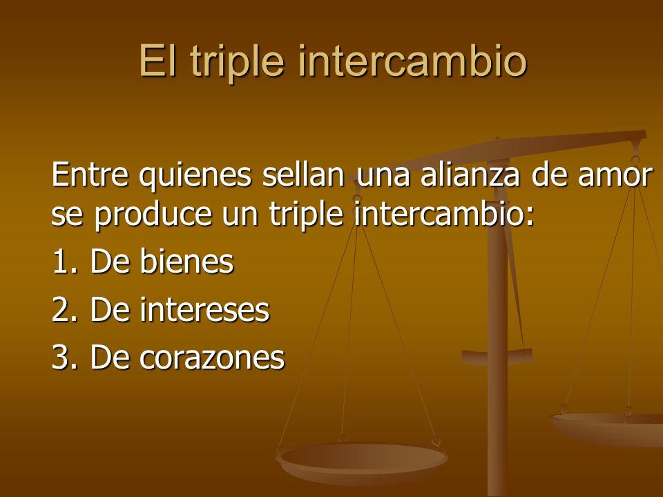 El triple intercambio 1. De bienes 2. De intereses 3. De corazones