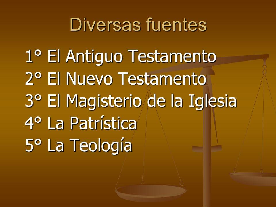 Diversas fuentes 2° El Nuevo Testamento 3° El Magisterio de la Iglesia