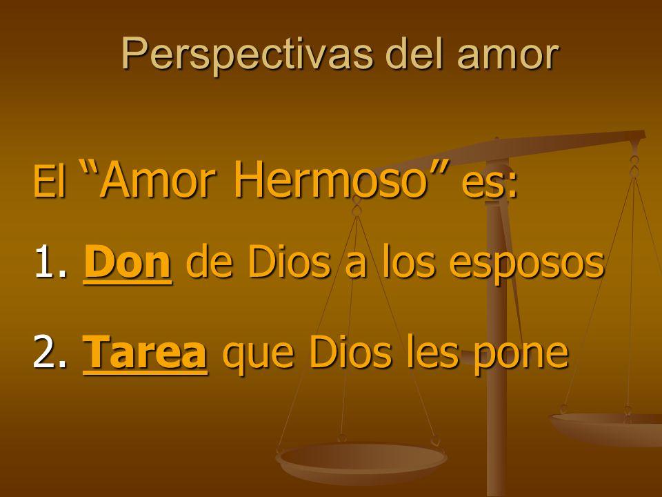 Perspectivas del amor 2. Tarea que Dios les pone