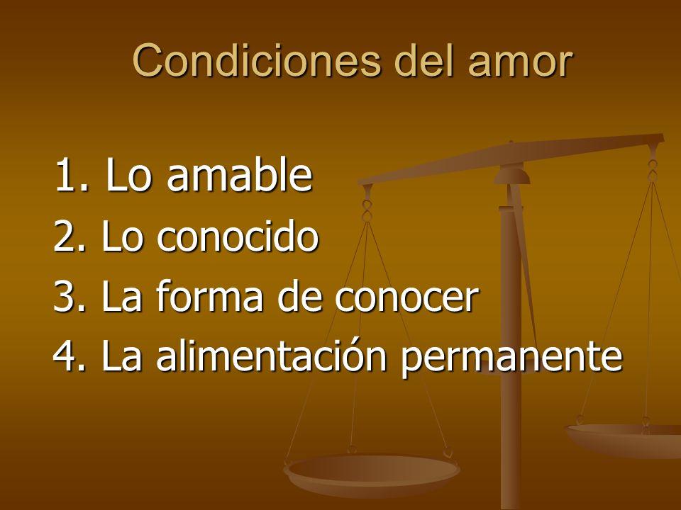 Condiciones del amor 2. Lo conocido 3. La forma de conocer