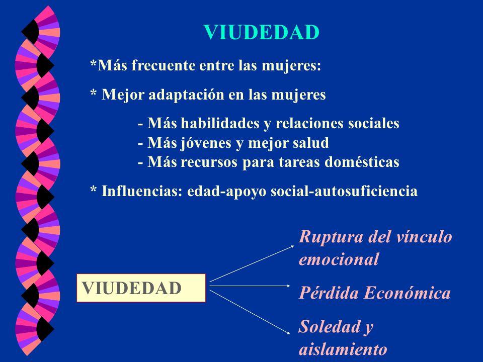 VIUDEDAD Ruptura del vínculo emocional Pérdida Económica