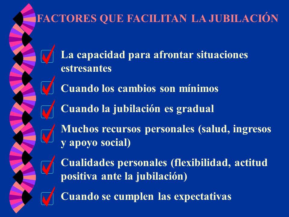 FACTORES QUE FACILITAN LA JUBILACIÓN