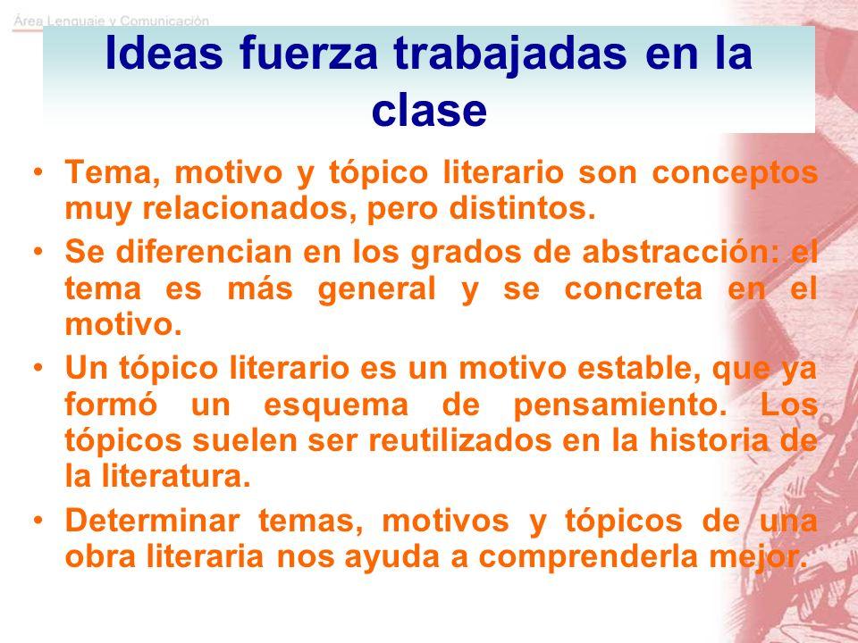 Ideas fuerza trabajadas en la clase