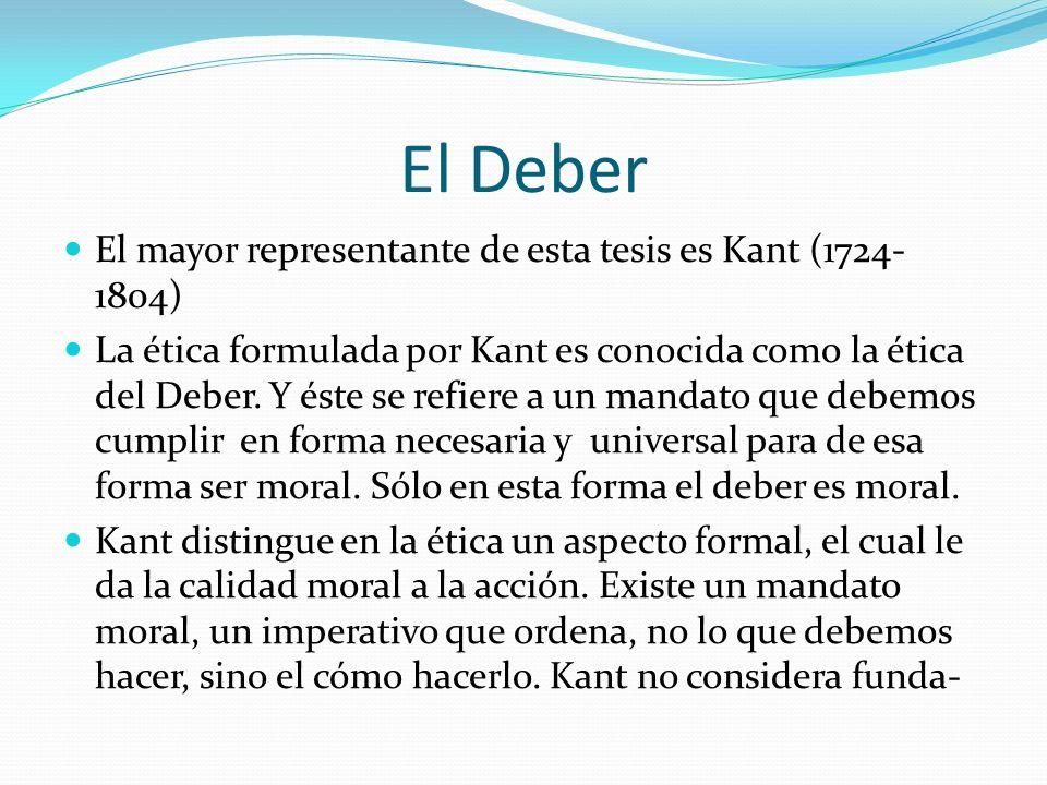 El Deber El mayor representante de esta tesis es Kant (1724-1804)
