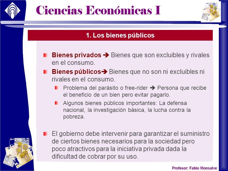 Bienes privados  Bienes que son excluibles y rivales en el consumo.