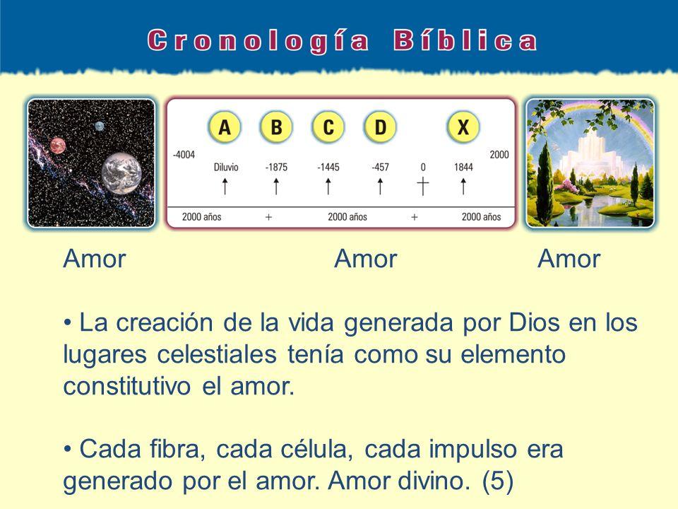 Amor Amor Amor La creación de la vida generada por Dios en los lugares celestiales tenía como su elemento constitutivo el amor.