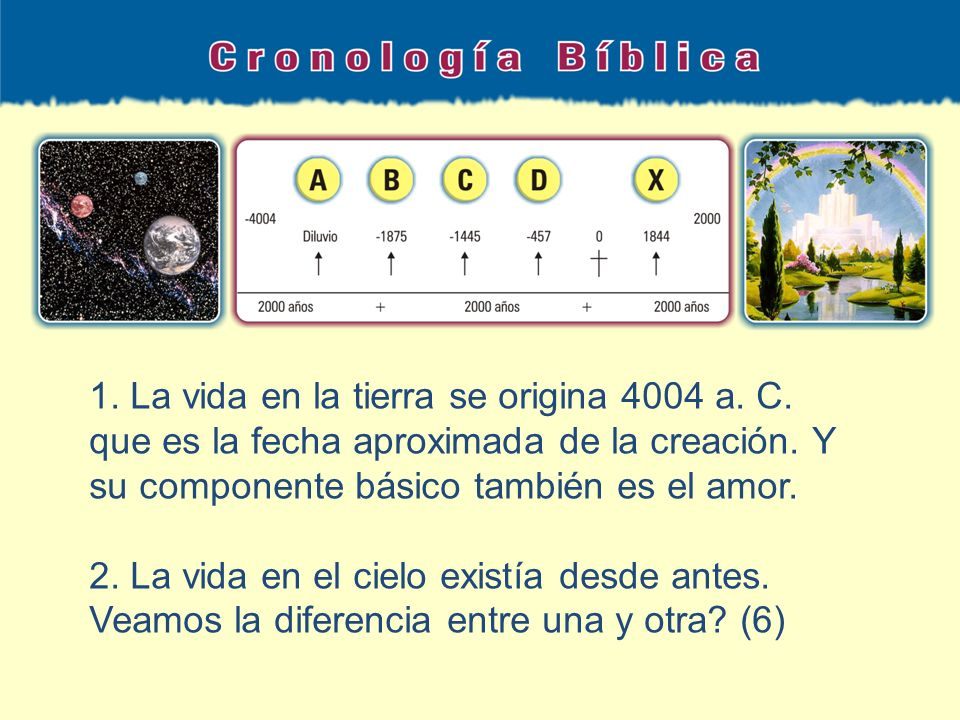 1. La vida en la tierra se origina 4004 a. C
