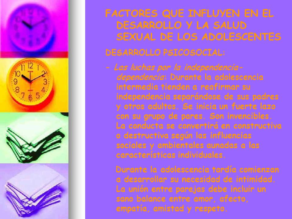 FACTORES QUE INFLUYEN EN EL DESARROLLO Y LA SALUD SEXUAL DE LOS ADOLESCENTES