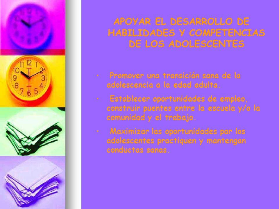 APOYAR EL DESARROLLO DE HABILIDADES Y COMPETENCIAS DE LOS ADOLESCENTES