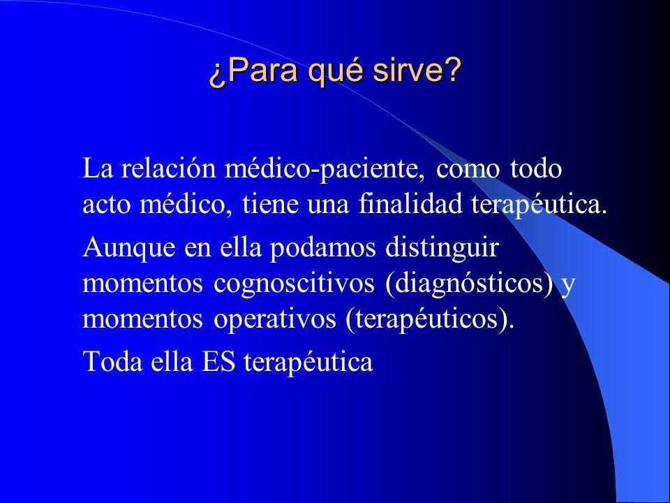 ¿Para qué sirve La relación médico-paciente, como todo acto médico, tiene una finalidad terapéutica.