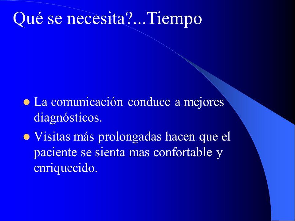 Qué se necesita ...Tiempo La comunicación conduce a mejores diagnósticos.