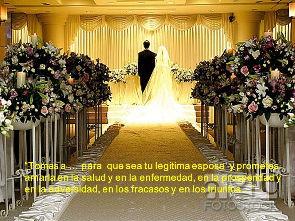 Tomas a … para que sea tu legitima esposa y prometes amarla en la salud y en la enfermedad, en la prosperidad y en la adversidad, en los fracasos y en los triunfos…