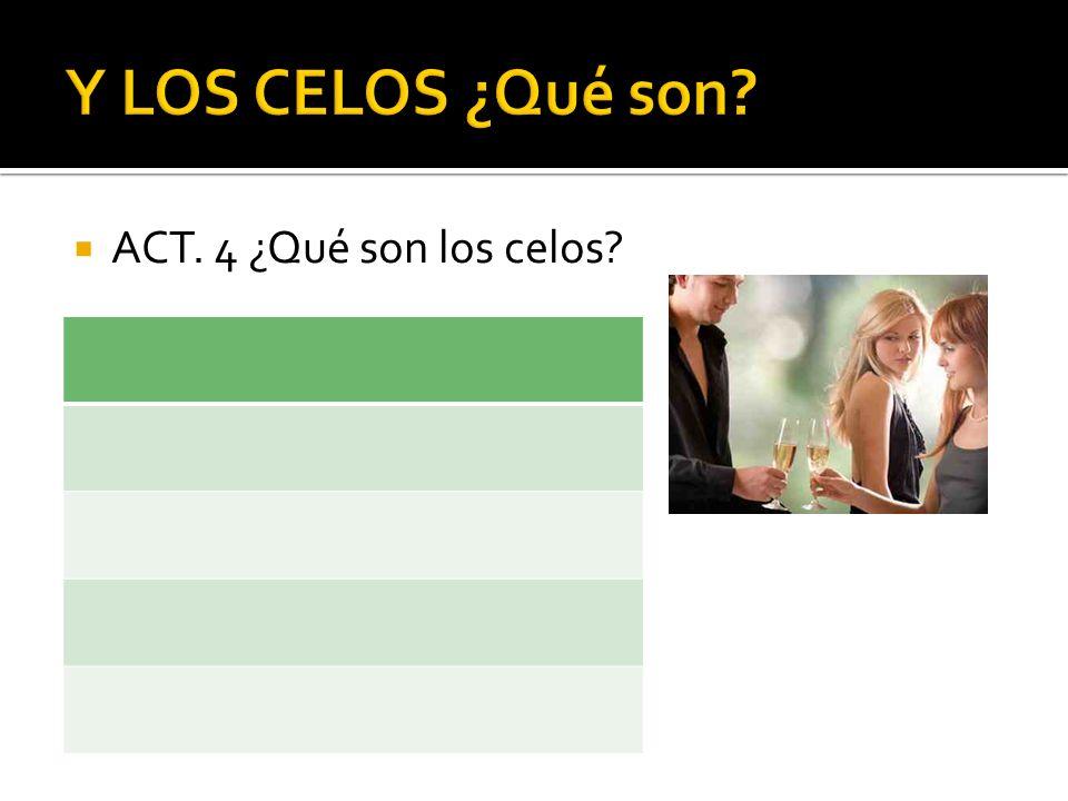 Y LOS CELOS ¿Qué son ACT. 4 ¿Qué son los celos