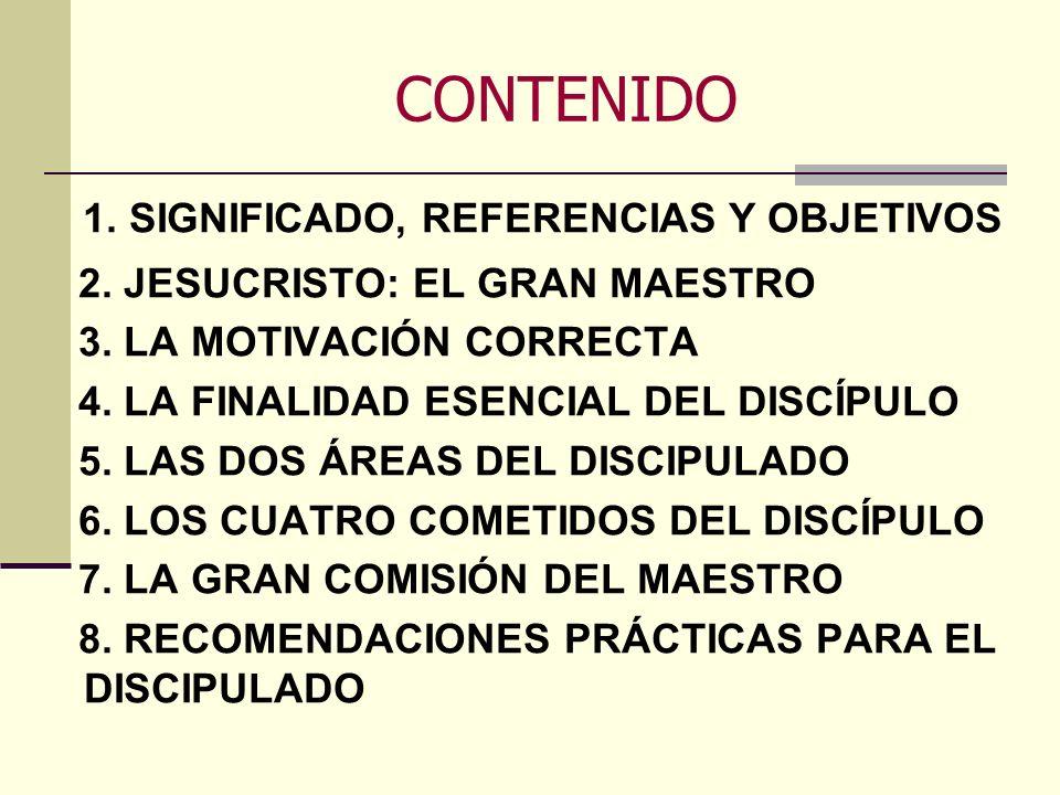 CONTENIDO 2. JESUCRISTO: EL GRAN MAESTRO 3. LA MOTIVACIÓN CORRECTA