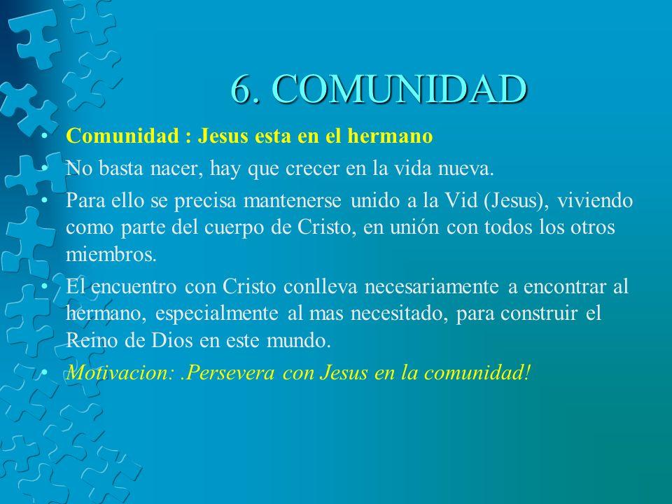 6. COMUNIDAD Comunidad : Jesus esta en el hermano