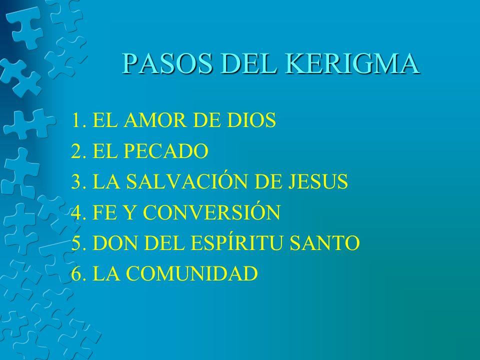 PASOS DEL KERIGMA 1. EL AMOR DE DIOS 2. EL PECADO