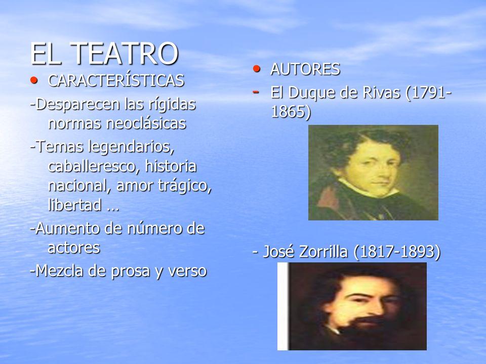 EL TEATRO AUTORES El Duque de Rivas (1791- 1865) CARACTERÍSTICAS
