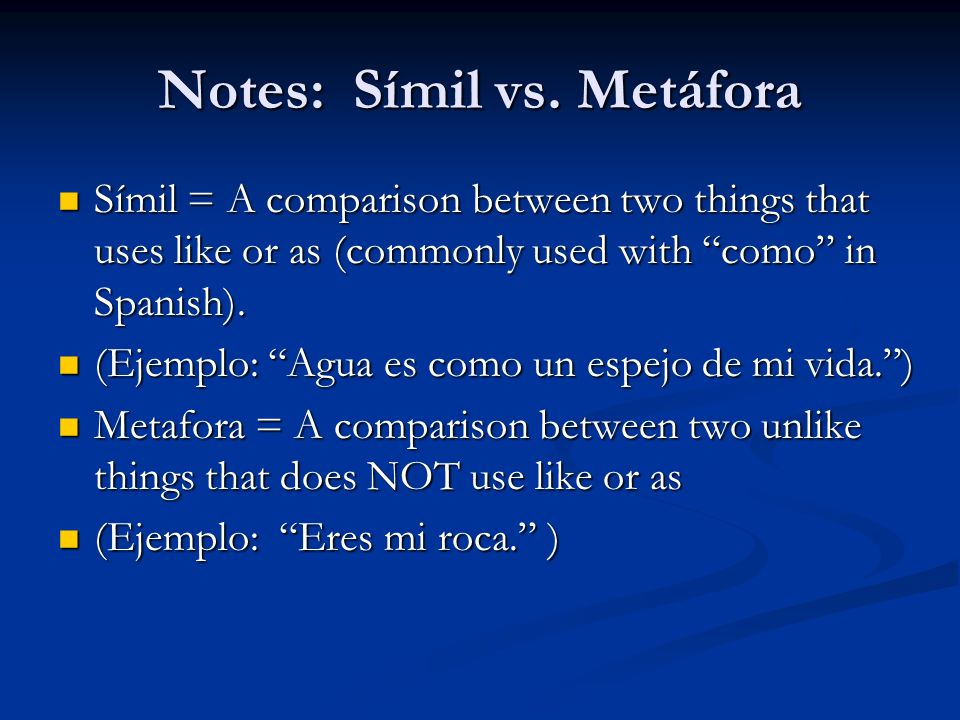 Notes: Símil vs. Metáfora