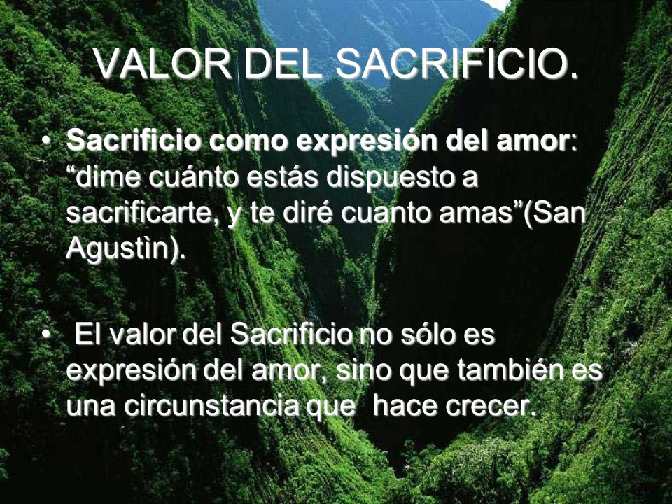 VALOR DEL SACRIFICIO. Sacrificio como expresión del amor: dime cuánto estás dispuesto a sacrificarte, y te diré cuanto amas (San Agustìn).