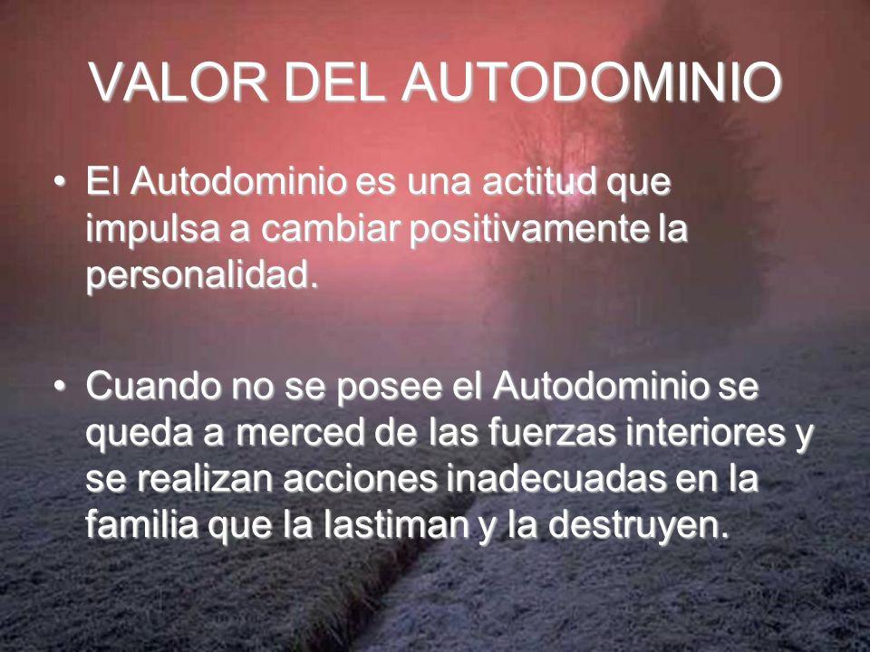 VALOR DEL AUTODOMINIO El Autodominio es una actitud que impulsa a cambiar positivamente la personalidad.