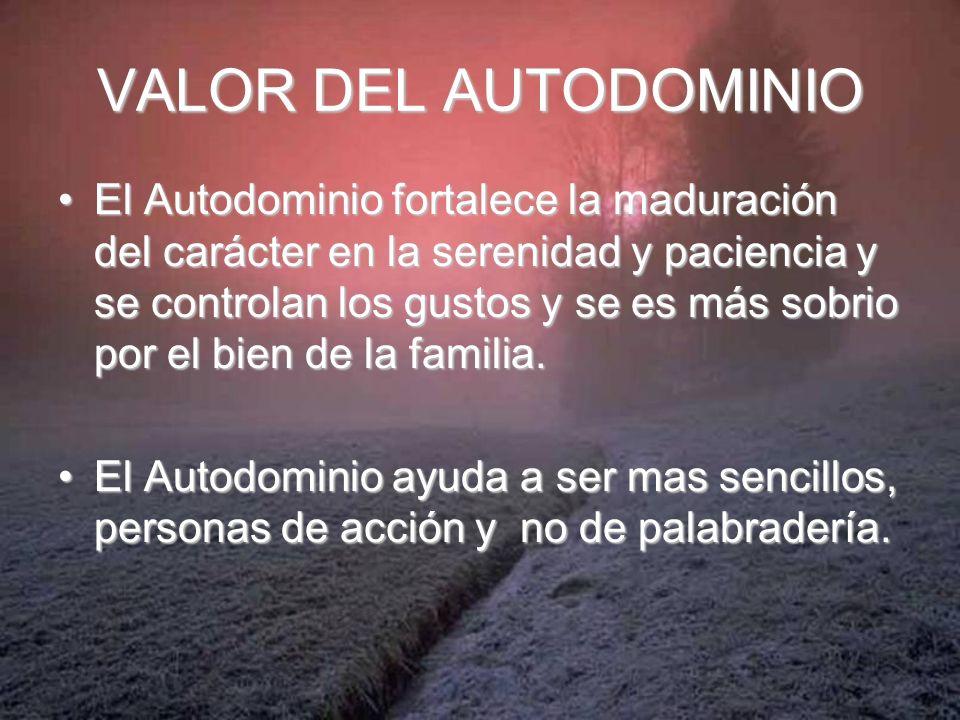 VALOR DEL AUTODOMINIO