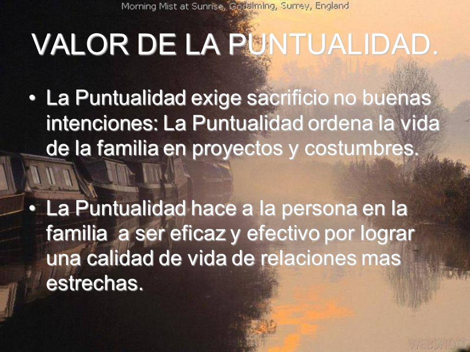 VALOR DE LA PUNTUALIDAD.