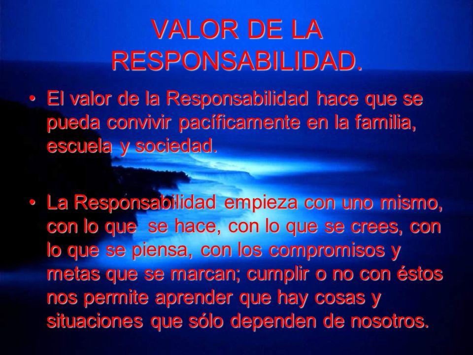 VALOR DE LA RESPONSABILIDAD.
