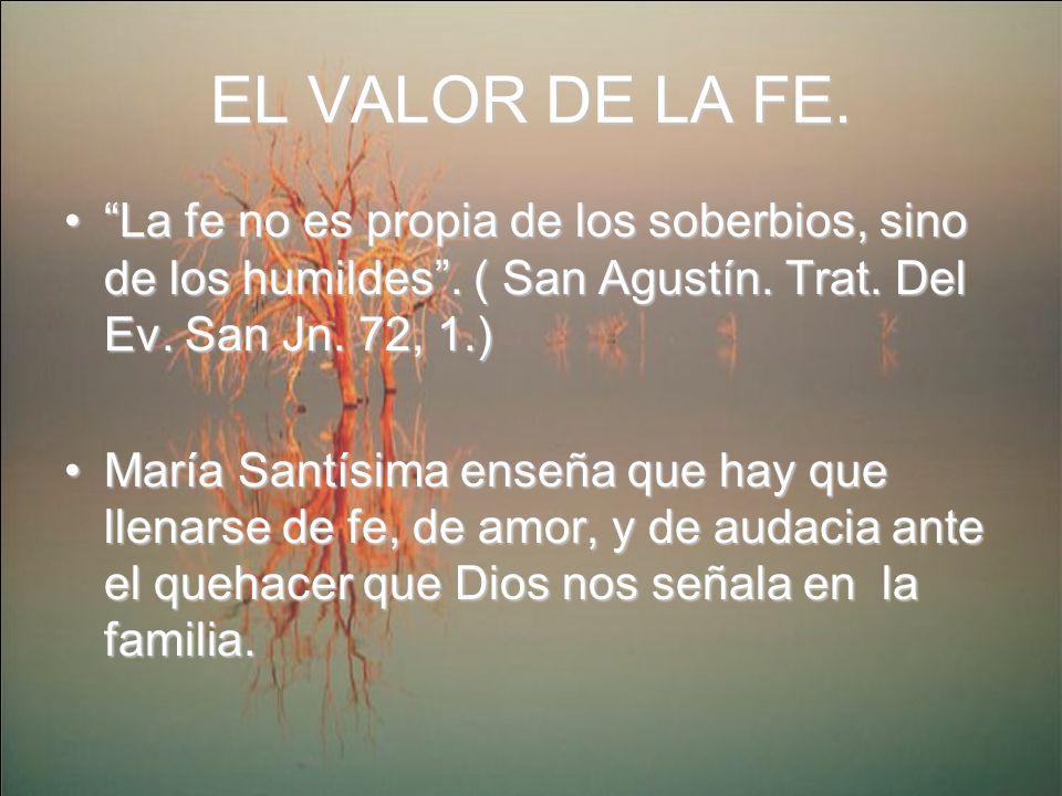 EL VALOR DE LA FE. La fe no es propia de los soberbios, sino de los humildes . ( San Agustín. Trat. Del Ev. San Jn. 72, 1.)