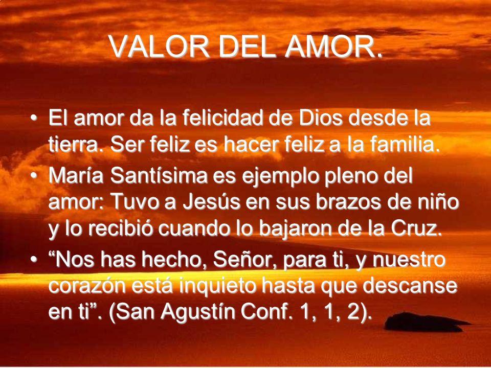VALOR DEL AMOR. El amor da la felicidad de Dios desde la tierra. Ser feliz es hacer feliz a la familia.