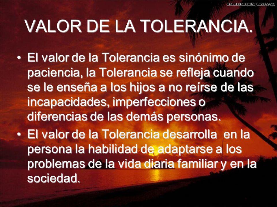VALOR DE LA TOLERANCIA.
