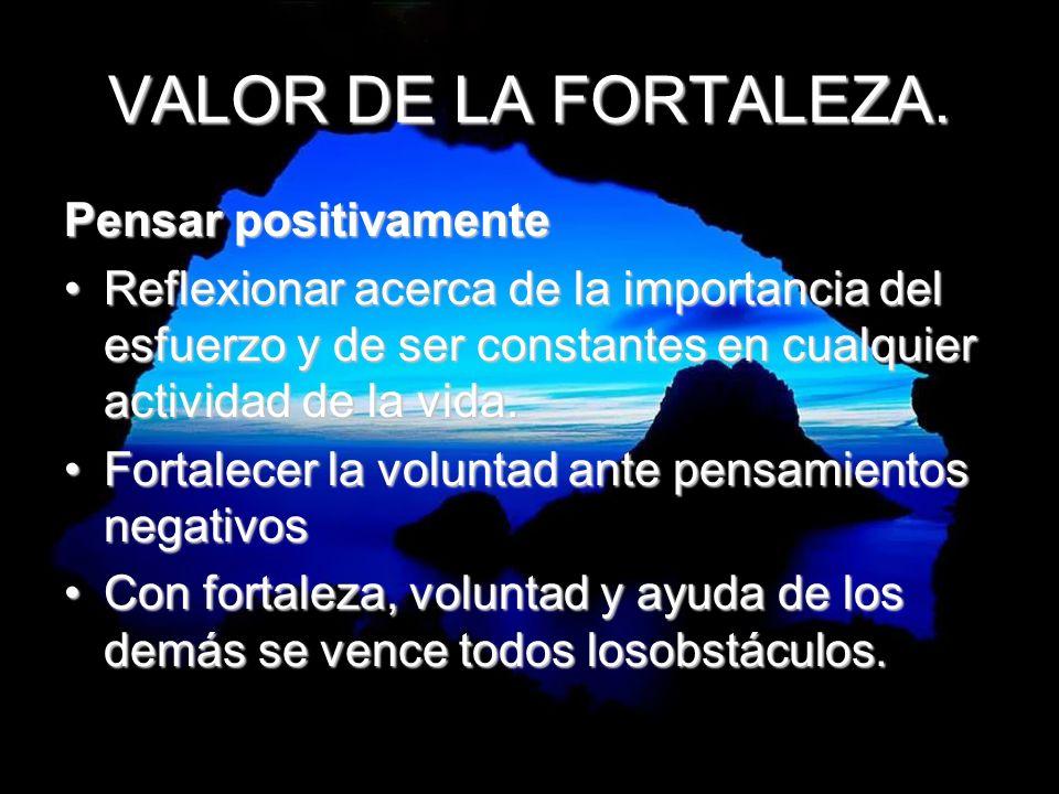 VALOR DE LA FORTALEZA. Pensar positivamente